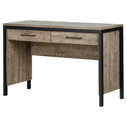 Munich Desk With Drawers Weathered Oak And Matte Black South S