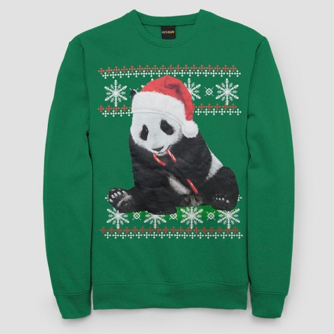 Mens Ugly Christmas Panda With Candy Cane Long Sleeve Pullover