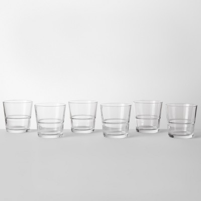 12.9oz Glass Stackable Short Tumblers Set of 6 - Made By Design™