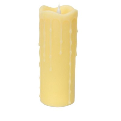 "Melrose 7"" Prelit LED Simplux Flameless Wax Pillar Candle with Moving Flame - Ivory"