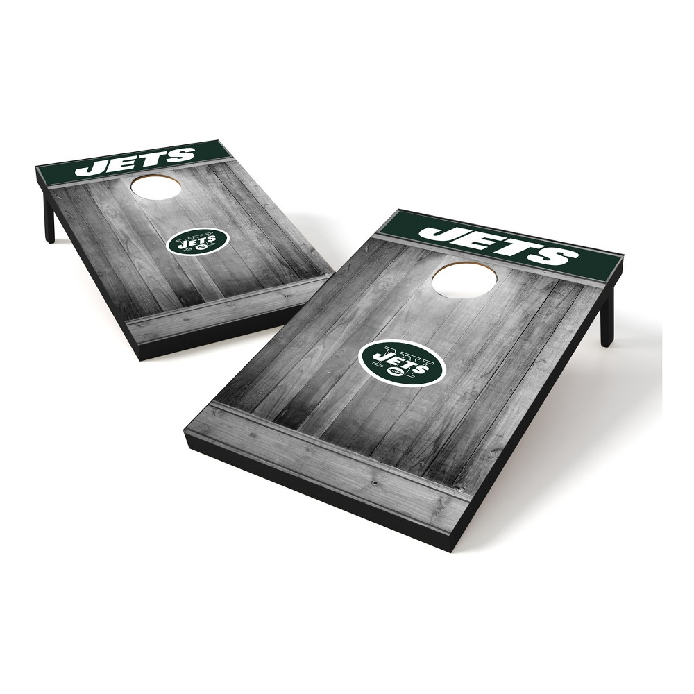 New York Jets Wild Sports 2x3 Rustic Wooden Plaque Gray Wash Tailgate Toss