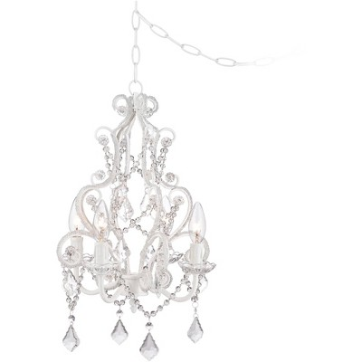 """Regency Hill White Plug In Swag Chandelier 13 1/2"""" Wide Crystal Accents 4-Light Fixture Dining Room House Foyer Kitchen Entryway"""
