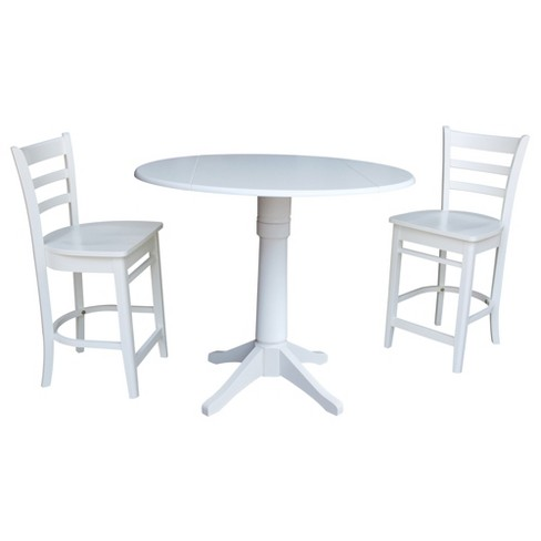 Awesome 42 Round Top Drop Leaf Table With 2 Counter Height Stools White International Concepts Cjindustries Chair Design For Home Cjindustriesco