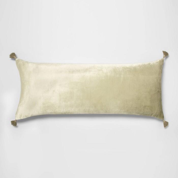 Tassel Trimmed Velvet Body Pillow Sage - Opalhouse™ - image 1 of 3