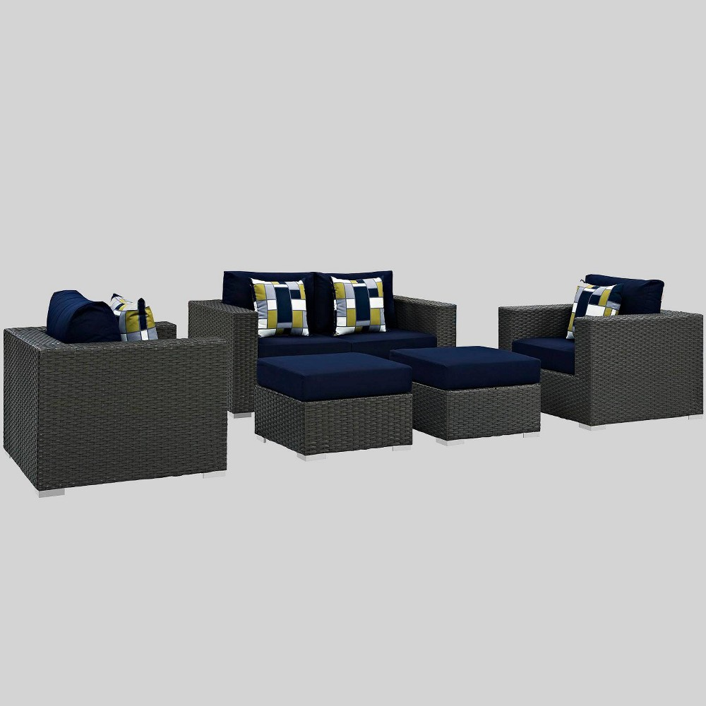 Sojourn 5pc Outdoor Patio Sunbrella Sectional Set - Navy (Blue) - Modway