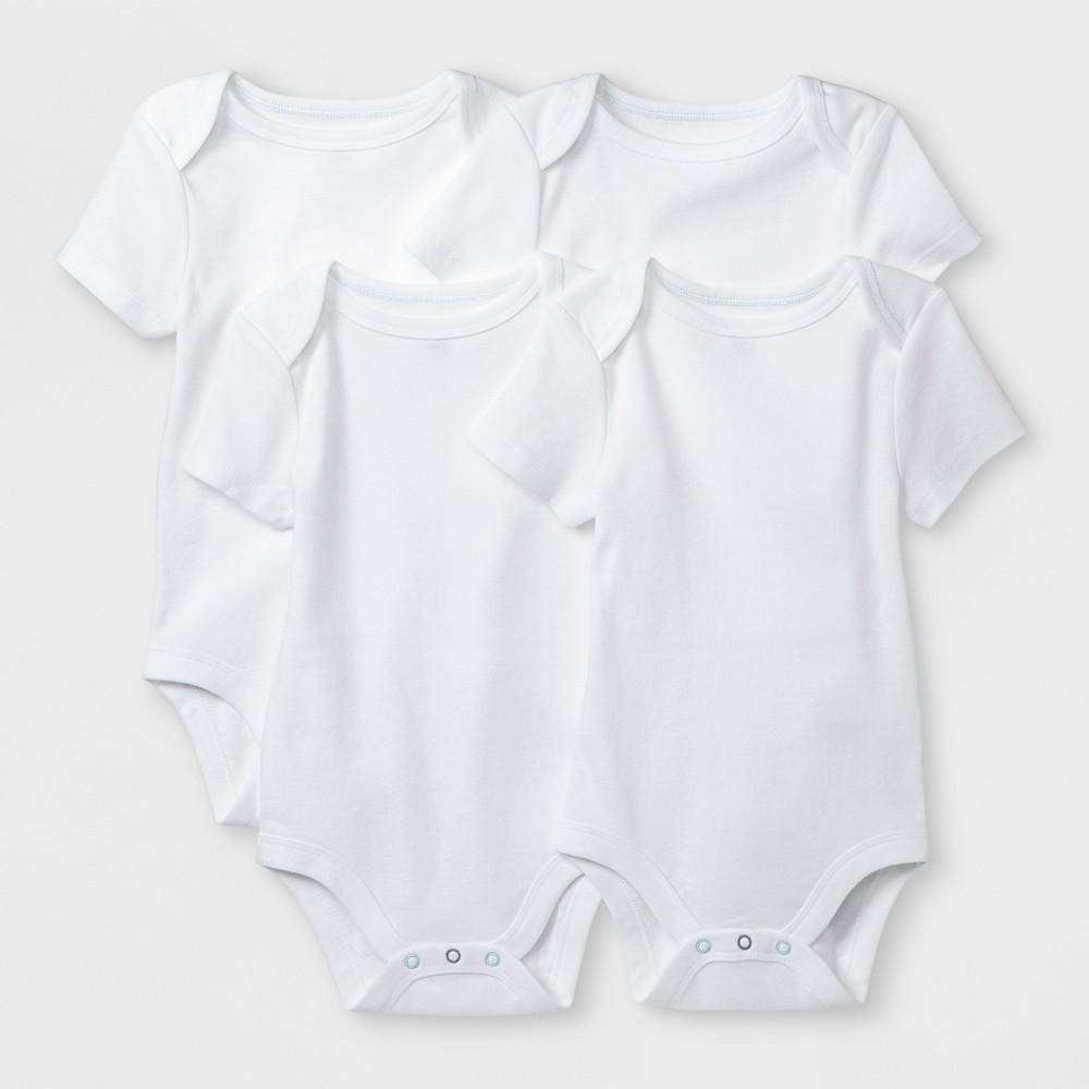Baby Basic 4pk Short Sleeve Bodysuit - Cloud Island White 0-3M, Infant Unisex