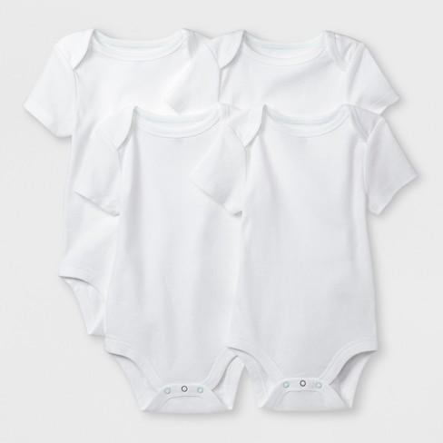 Baby Boys' Basic 4pk Shorts sleeve Bodysuit - Cloud Island™ White - image 1 of 1