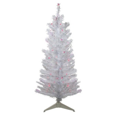 Northlight 4' Pre-lit White Iridescent Pine Artificial Christmas Tree - Pink Lights