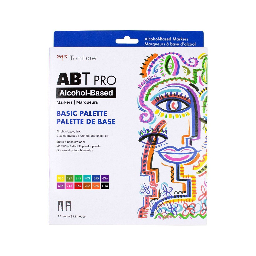 12ct Abt Pro Dual Tip Alcohol Based Art Markers Basic Palette Tombow
