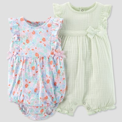 Baby Girls' 2pk Romper Set - Just One You® made by carter's Mint/Floral Newborn