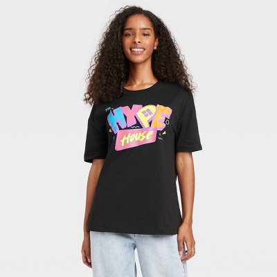 Women's Hype House Elbow Sleeve Graphic T-Shirt - Black
