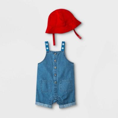 Baby Denim Overalls with Hat - Cat & Jack™ Blue 0-3M