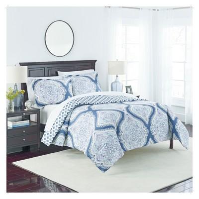 Blue Medallion Lotus Reversible Comforter Set (King)3pc - Marble Hill®