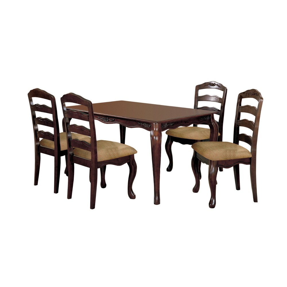 "Image of ""5pc 60"""" Danburn Floral Accented Dining Table Dark Walnut - ioHOMES"""