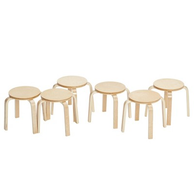 """ECR4Kids Bentwood Stacking Stools for Kids, Playroom/Daycare Flexible Seating, 12"""" Height, 6-Piece"""