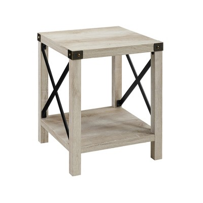 18  Metal X Side Table White Oak - Saracina Home
