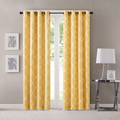 Sereno Fretwork Print Curtain Panel Yellow (50 x108 )