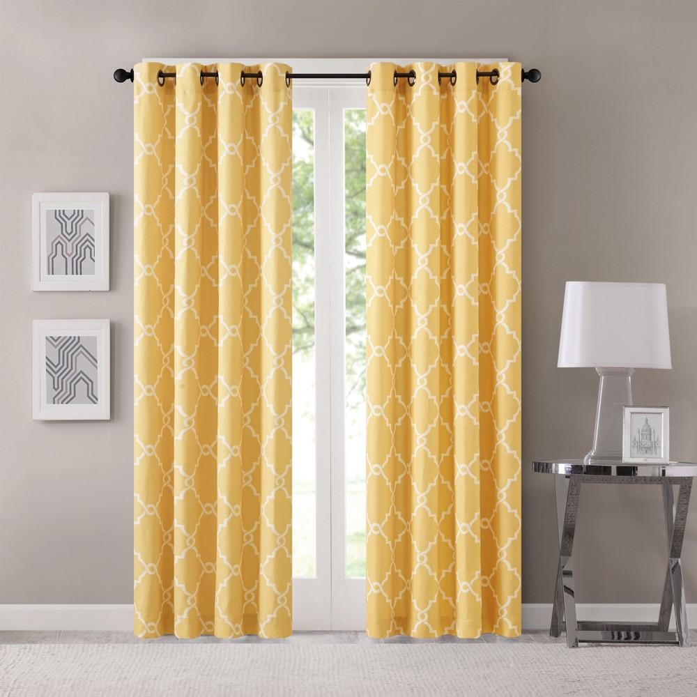 Sereno Fretwork Print Curtain Panel Yellow (50