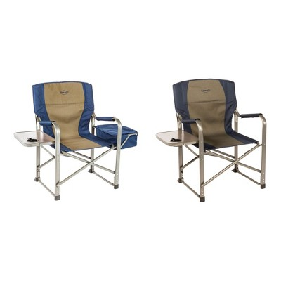 Kamp-Rite Folding Tailgating Camping Director's Chairs with Side Tables and Built In Cooler, Tan/Blue (2 Pack)