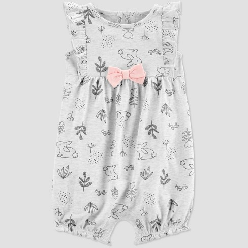 Baby Girls' Bunny Romper - Just One You® made by carter's Gray - image 1 of 1