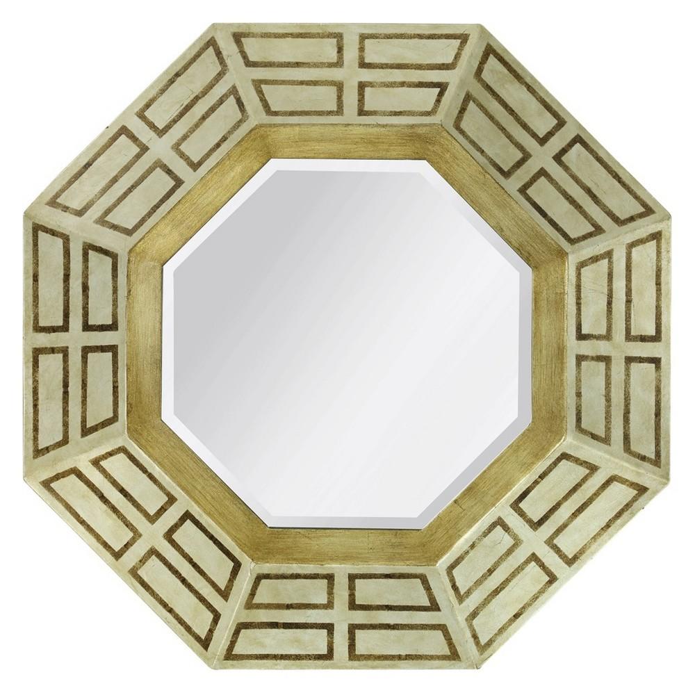 30 Octagon Framed Mid Century Foiled Finish Wall Mirror Light Gold - StyleCraft