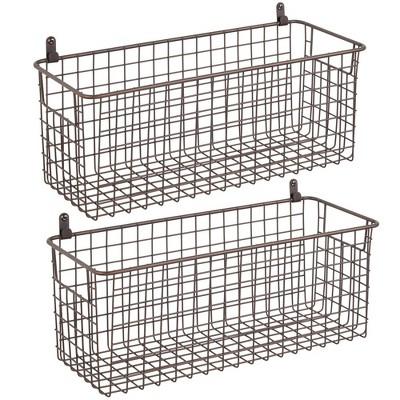 mDesign Metal Wall Mount Hanging Basket Bin for Home Storage, 2 Pack