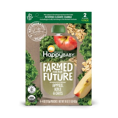 HappyBaby Farmed for Our Future 4pk Regenerative & Organic Apples Kale & Oats Baby Meals - 16oz