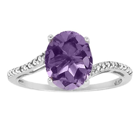Oval Amethyst Ring in Sterling Silver (8x6mm) - image 1 of 1