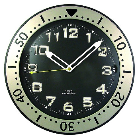 "Chronograph 12"" Wall Clock Black/Nickel - TimeKeeper® - image 1 of 1"