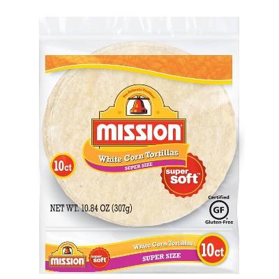 Mission Super Size Gluten Free Super Soft White Corn Tortillas - 10.84oz/10ct