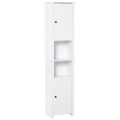 HOMCOM Tall Bathroom Storage Cabinet Freestanding Linen Tower with 2-Tier Shelf and 2 Cupboards Narrow Side Floor Organizer