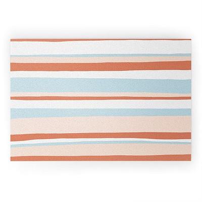 Sunshinecanteen Mesa Desert Pastel Stripes Looped Vinyl Welcome Mat - Society6