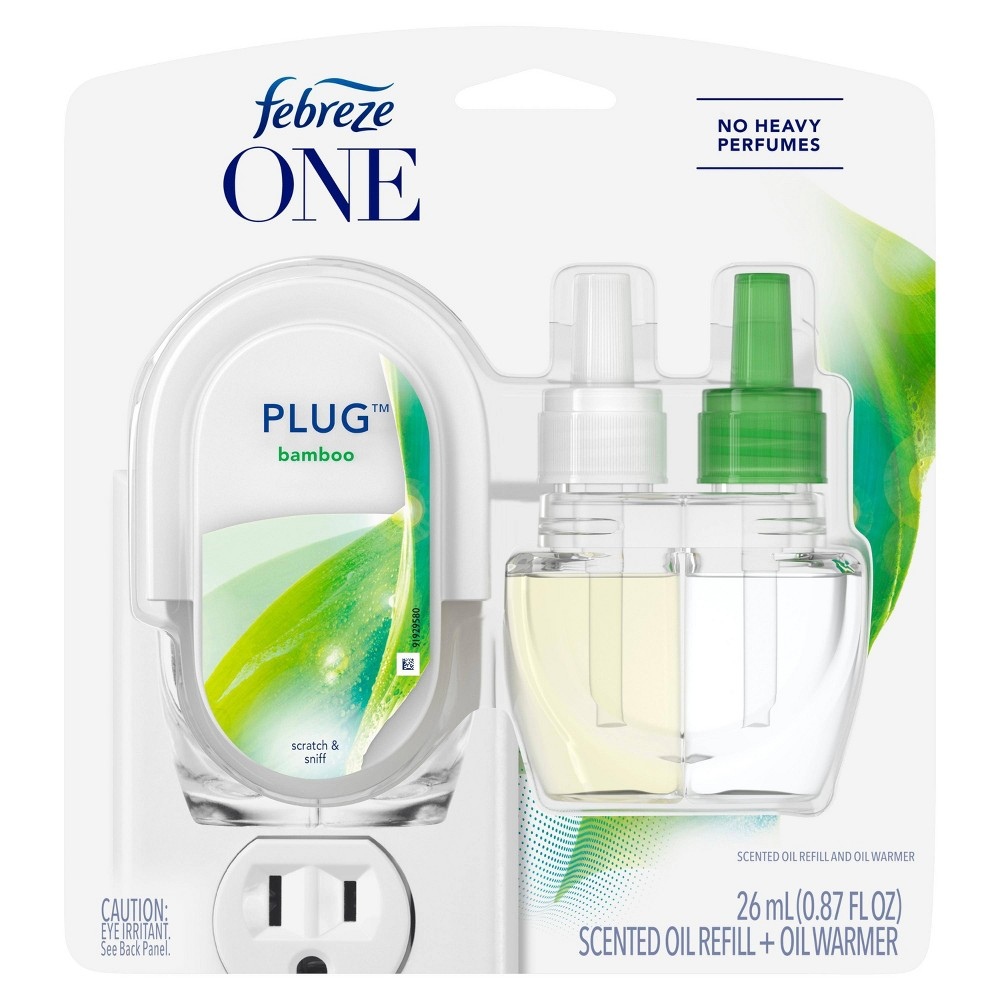 Febreze One Plug Bamboo Scented Oil Warmer + Oil Refill Febreze One Plug Air Freshener gently cleans away odors with No Heavy Perfumes. Simply plug in to any outlet in your bedroom, living room, bathroom, and more and select the level of intensity to control how much freshness is released. This nature-inspired deodorizer is formulated with no heavy perfumes for pure, light freshness, so you get nothing but fresh. Febreze One Plug Air Freshener cleans away odors and releases a light, fresh scent for up to 1200 hours.* Febreze One Plug Air Freshener is the gentle odor-removal solution with a light scent you've been searching for! *On low Color: White.