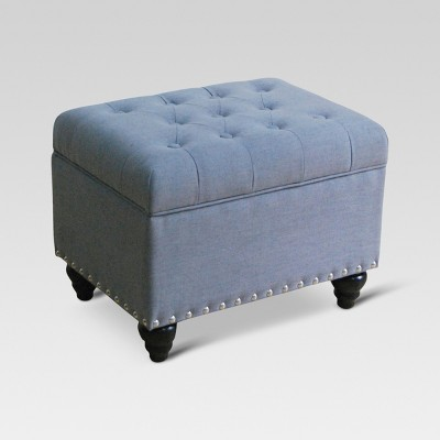 Danbury Tufted Storage Ottoman With Nailheads Gray - Threshold™