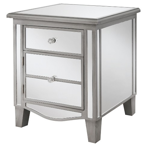 Gold Coast Park Lane Mirrored End Table, Silver Mirror End Table