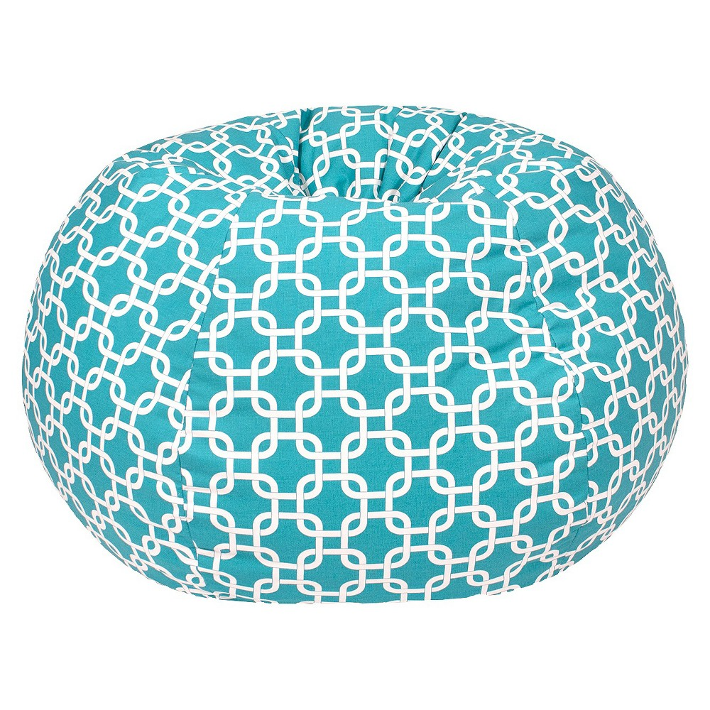 Small Gotcha Hatch Print Pattern Bean Bag Chair - Turquoise - Gold Medal