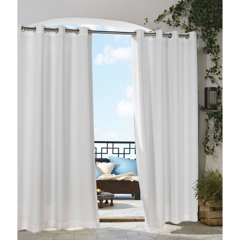 """Image of """"50""""""""x96"""""""" Coastal Solid Grommet Top Indoor/Outdoor Blackout Curtain Panel White - Outdoor Décor"""""""