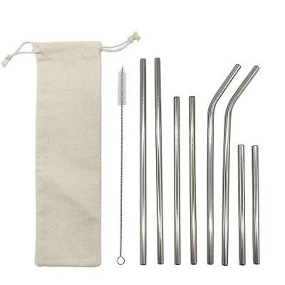 8pc Reusbale Straws with Cleaning Brush & Carrying Pouch Stainless Steel - Room Essentials™