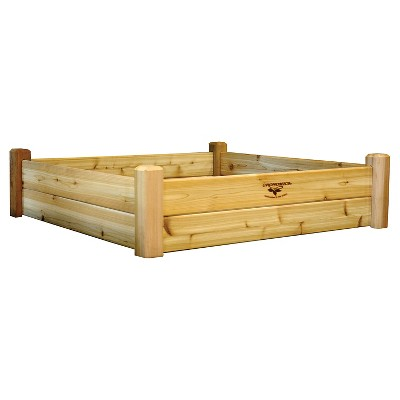 "50.25"" x 50.25"" x 13"" Raised Square Garden Bed - Western Red Cedar - Gronomics"