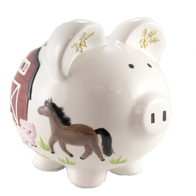 "Bank 7.75"" Barnyard Piggy Bank Horse Pig Cow Rooster  -  Decorative Banks"