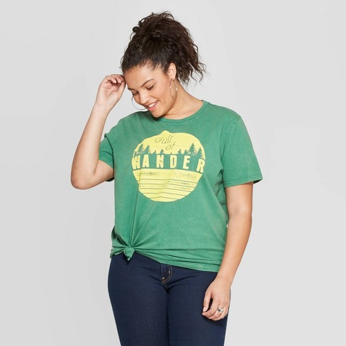 6ad130198 Women's Plus Short Sleeve Full of Wander Graphic T-Shirt - Mighty Fine  (Juniors') - Green