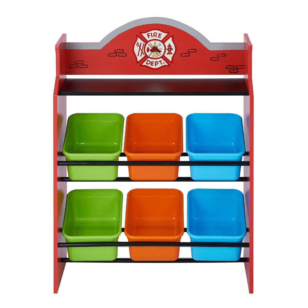 Image of Little Firefighters Toy Organizers with Storage Bins - Fantasy Fields, Red Multicolored