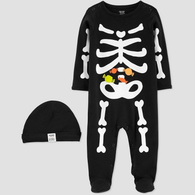 Baby Boys' Halloween Black Skeleton Sleep N' Play with Hat - Just One You® made by carter's Newborn
