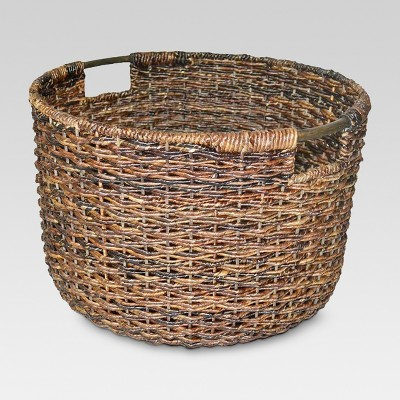 Wicker Large Round Basket Dark Brown   Threshold™