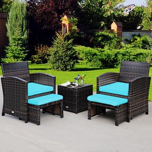 Costway 5pcs Patio Rattan Wicker, Turquoise Outdoor Furniture