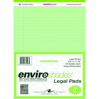 Enviroshades Legal Pads, 8-1/2 x 11-3/4 Inches, Green, 50 Sheets, pk of 3