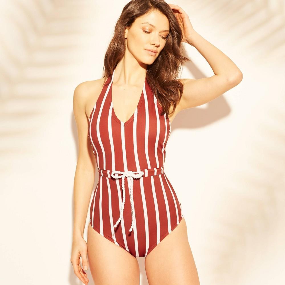 Women's Rope Tie One Piece Swimsuit - Kona Sol Red/White Stripe L
