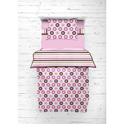 Bacati - Mod Dots Stripes Pink Fuschia Beige Chocolate 4 pc Toddler Bedding Set