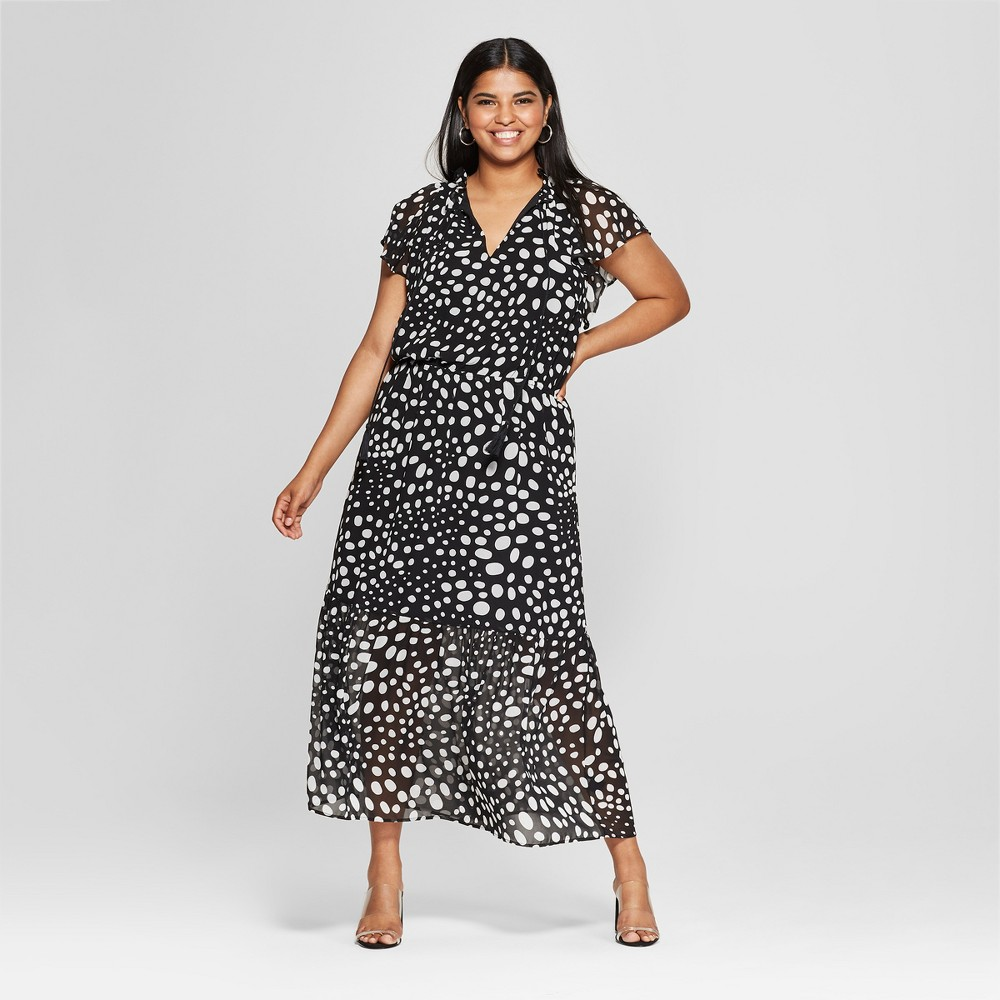 Polka Dot Dresses: 20s, 30s, 40s, 50s, 60s Womens Plus Size Polka Dot Short Flutter Sleeve Midi Dress - Who What Wear BlackWhite 3X BlackWhite Polka Dot $31.44 AT vintagedancer.com