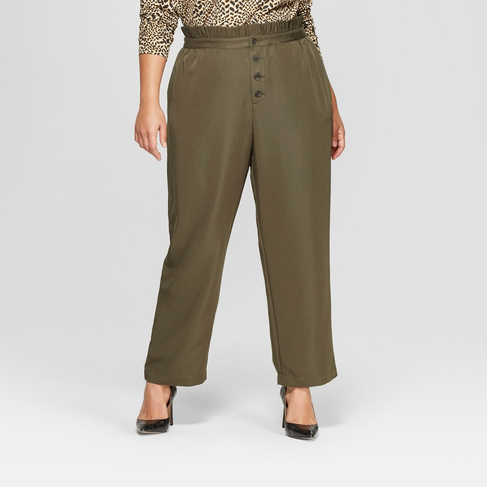 Women's Plus Size Relaxed Button Front Ankle Trouser - Who What Wear Olive (Green) X